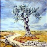 The Olive tree square by Annick Augier, Painting, Oil and Acrylic on Canvas